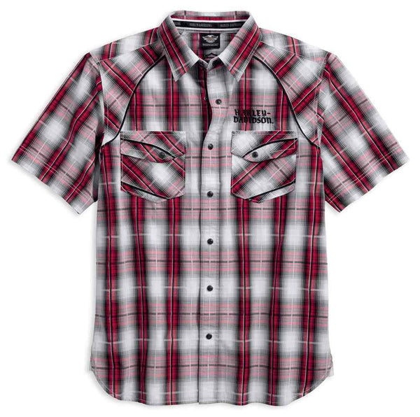 96619-17VM H-D Men's Modified Yoke Americana Plaid Shirt