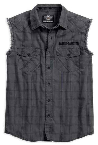 96623-17VM H-D Men's Worn Plaid Sleeveless Blowout Shirt