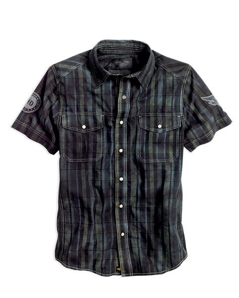 96799-14VM H-D Mens Knees In The Breeze Overdye Distressed Plaid Short Sleeve Woven Shirt