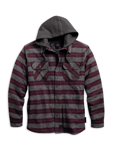 97584-16VM H-D Striped Hooded Shirt Jacket