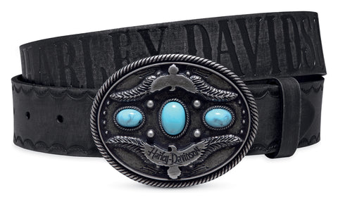 97602-17VW H-D Women's Black Label Western Style Leather Belt | Turquoise-Look Accents | Slim Fit