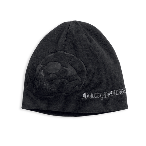97610-17VM H-D Men's Debossed Skull Knit Hat