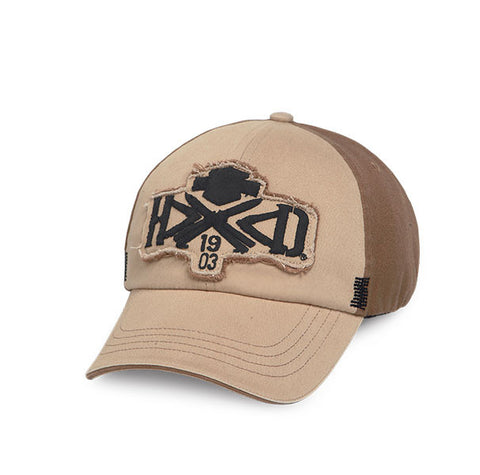 97617-16VM H-D Raw Edge Bar & Shield Tan Baseball Cap