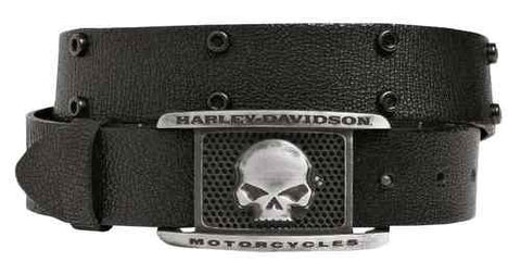 97658-16VM H-D Men's Crackle Willie G Skull Belt, Black Leather
