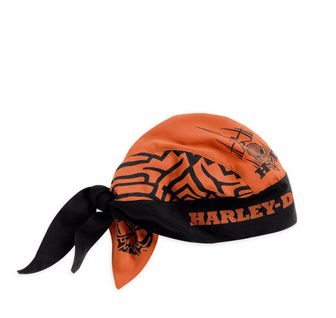 97681-15VM H-D Mens Tribal Skull Allover Graphics Orange Polyester Headwrap