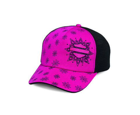 97758-16VW H-D Womens Colorblocked Flower Print with Rhinestones Pink Cotton Trucker Cap