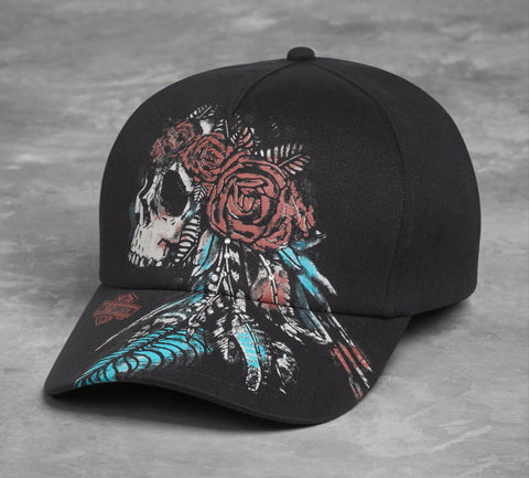 97876-17VW H-D Womens Feather & Skull with Rhinestones Black Cotton Baseball Cap