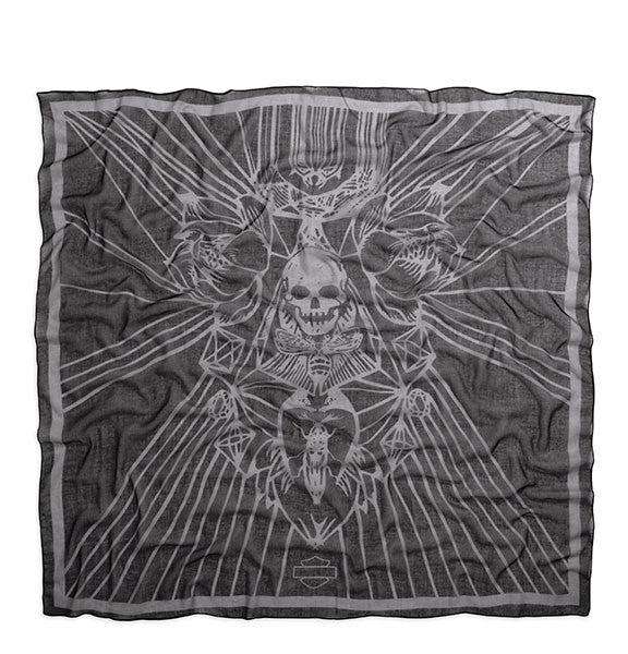 97885-16VW H-D Women's LIMITED EDITION Floral Skull Scarf