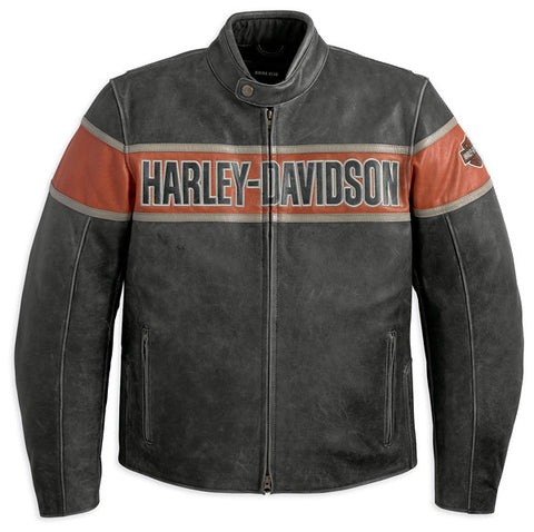 98057-13VM Harley-Davidson® Mens Victory Lane Orange Stripe Black Leather Jacket