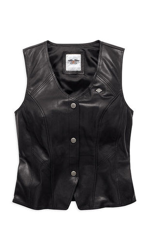 98093-16VW H-D® Womens Essential B&S Metal Badge Snap Front Black Vest
