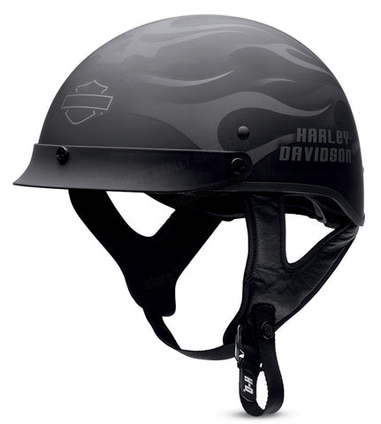 98242-13VM H-D Mens Ghost Flames Ultra-Light Matte Black Half Helmet