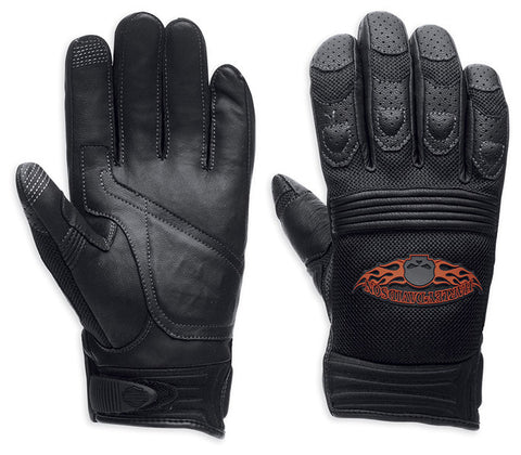 98252-13VM H-D Burning Skull Full-Finger Gloves w/ Touchscreen Technology