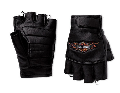 98311-10VM H-D® Mens Ride Ready Flame Fingerless Leather Glove