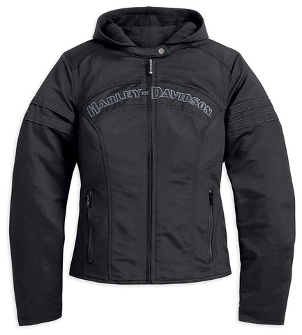 98519-12VW Harley-Davidson® Womens Miss Enthusiast 3-In-1 Black Casual Cotton Blend Jacket