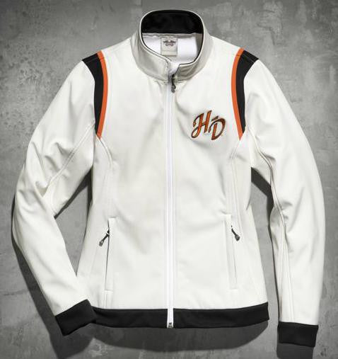 98546-14VW Harley-Davidson® Womens Embroidered Soft Shell Off White Casual Jacket