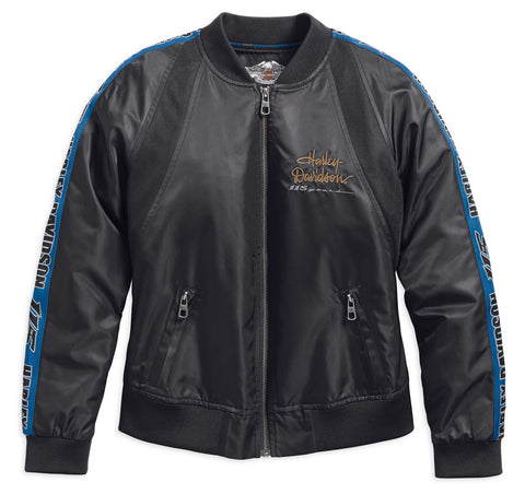 98586-18VW🔹H-D Women's 115th Anniversary Casual Bomber Jacket