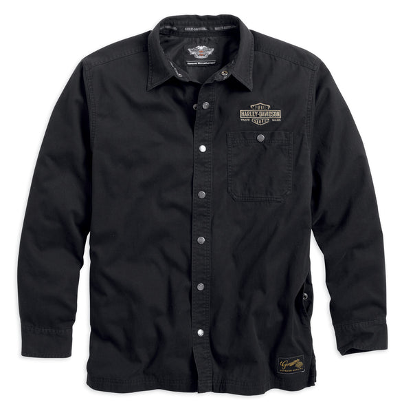 99001-14VM Harley-Davidson® Mens Genuine Classics Trademark B&S Washed Black Long Sleeve Shirt Jacket