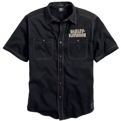 99002-14VM - HD Genuine Classics Black Eagle Short Sleeve Woven Shirt