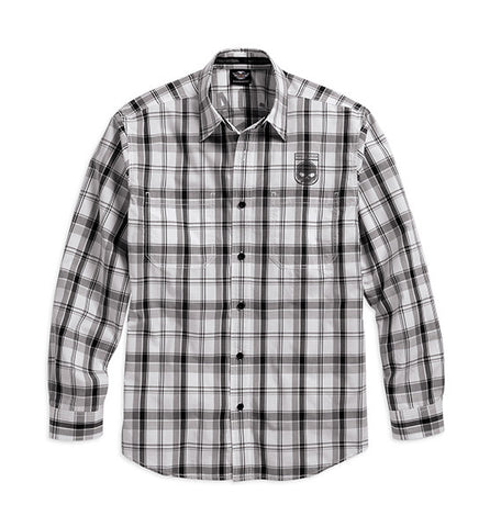 99008-16VM H-D® Mens Willie G Skull Shield Plaid LS Woven Shirt