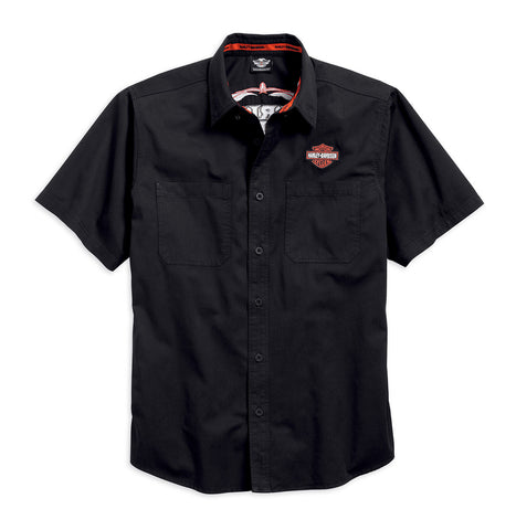 99049-16VM H-D® Mens Pinstripe Flames with B&S Embroidered Black Short Sleeve Woven Shirt