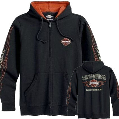 99061-12VM Harley-Davidson® Mens Flames Hooded Sweatshirt Black Cotton Long Sleeve Shirt
