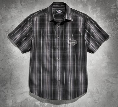 99084-14VM Harley-Davidson® Mens Enzyme Washed B&S Plaid Short Sleeve Woven Shirt