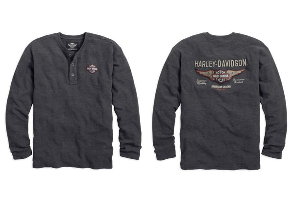 99094-14VM Harley-Davidson® Mens Winged B&S Waffle Knit Grey Long Sleeve Henley