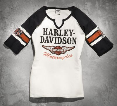 99145-14VW Harley-Davidson® Womens Iconic Winged B&S Notched Neck Raglan Off White SS T-Shirt