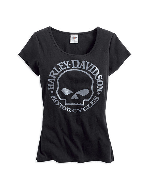 99146-14VW Harley-Davidson® Women's Willie G® Skull T-Shirt in Black