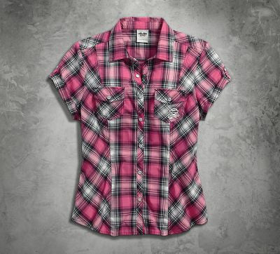 99168-16VW H-D® Women's Pink Label Snap Front Shirt