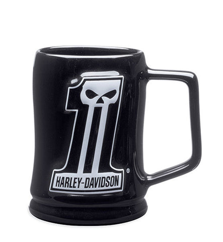 99219-14V H-D #1 Skull Sculpted Mug