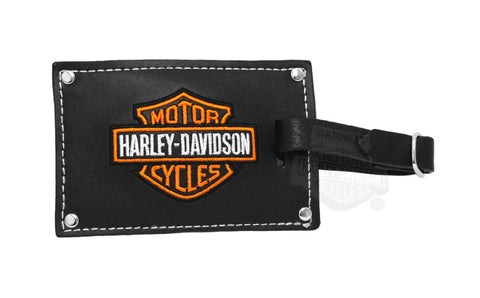 AH99301 H-D Belted Black Leather Luggage Tag Set