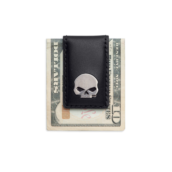 99445-16VM Harley-Davidson Mens Willie G Skull Medallion Black Leather Money Clip