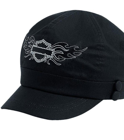 99451-13VW H-D® Womens Embellished B&S Logo w/ Two Side Buttons Black Cotton Biker Cap