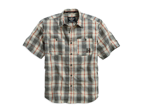 96428-15VM H-D® Mens Acid Wash Embroidered Plaid SS Woven Shirt
