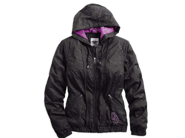 97416-14VW H-D® Womens Carina Willie G Skull with Wings Packable Black Casual Jacket
