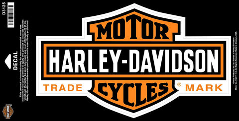 D3125 Harley-Davidson® Long Chrome Bar and Shield® Decal Large Orange