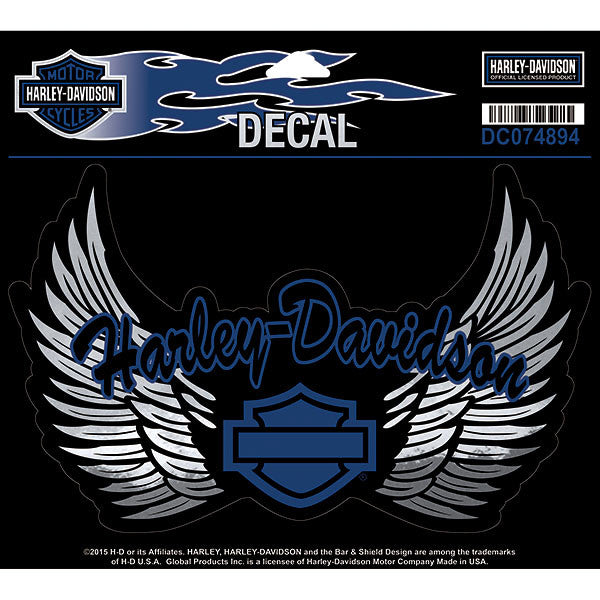 DC074894 Harley-Davidson® Winged Bar and Shield® Large Decal Blue