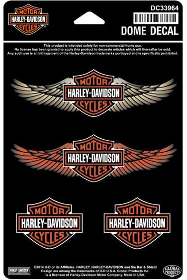 DC33964 Harley-Davidson Straight Wings B&S Dome Decal Sheet