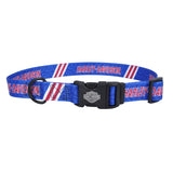"H6321 H HTT12 H-D Harley Tire Tracks 3/8"" Adjustable Nylon Red/White/Blue Pet Collar 8""-12"" Adjustable"