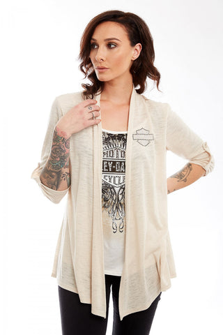 HC4069NAT H-D Womens Dylatov Open B&S Cardigan Natural 3/4 Sleeve