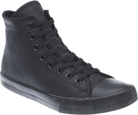"D93342 H-D Men's Baxter All Black 4.5"" Leather Hi-Cut Sneakers"
