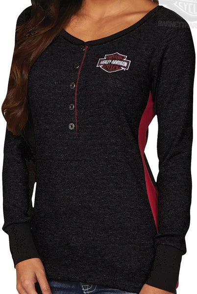 HHN7-H80Z Harley-Davidson® Womens Bike Savvy B&S Open Neck Black Long Sleeve Thermal