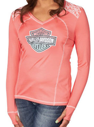 HJ78-HA0Y HD Womens Rose of the Rebirth B&S Synthetic Pink Long Sleeve T-Shirt