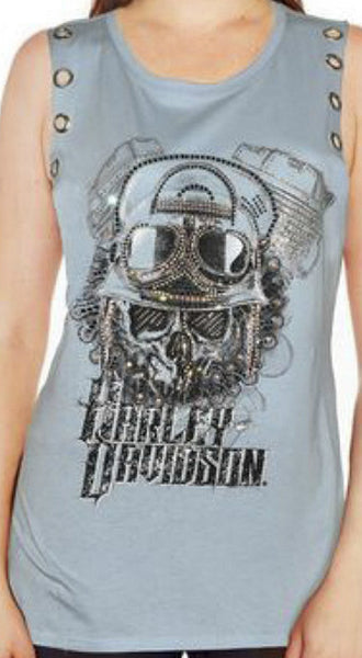 HT4161BLU Harley-Davidson® Women's Superior Detail Sleeveless T-Shirt | Eyelet Piercings