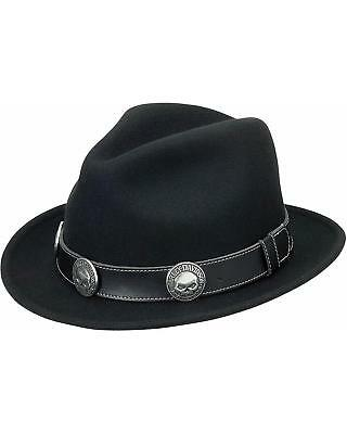 HD-160 H-D® Willie G Skull Band Black Fedora Brimmed Hat