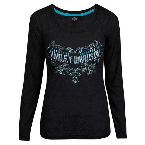 R002530 Harley-Davidson Womens Legend Scroll Embellished Long Sleeve Shirt