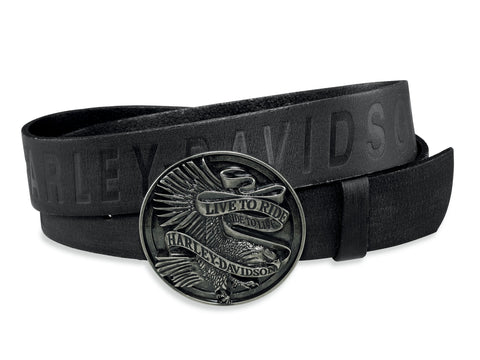 97661-17VM H-D Mens Live To Ride Eagle Black Leather Belt