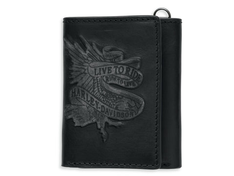 97662-17VM🔹 H-D Mens Live To Ride Eagle Black Leather Trifold Wallet
