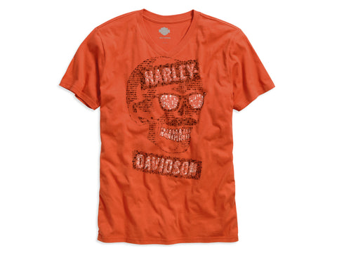 96128-16VM H-D® Mens Mustache Skull V-Neck Orange Short Sleeve T-Shirt